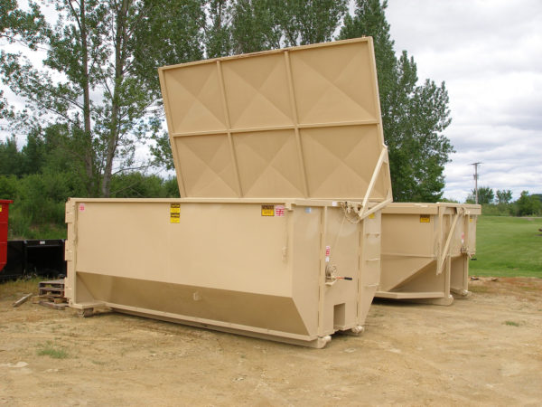 Roll-off dumpster with lid